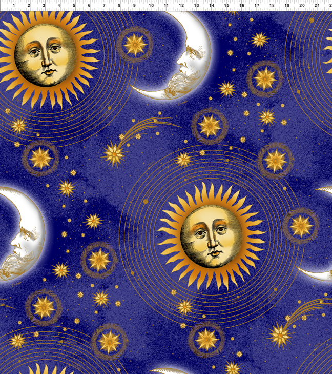 End of bolt celestial metallic blue large sun and moon by for Celestial pattern fabric