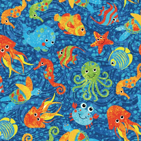Quilt Patterns For Stonehenge Fabric : Stonehenge Undersea Adventure - Multi Color Fishes by Linda Ludovico by Linda Ludovico