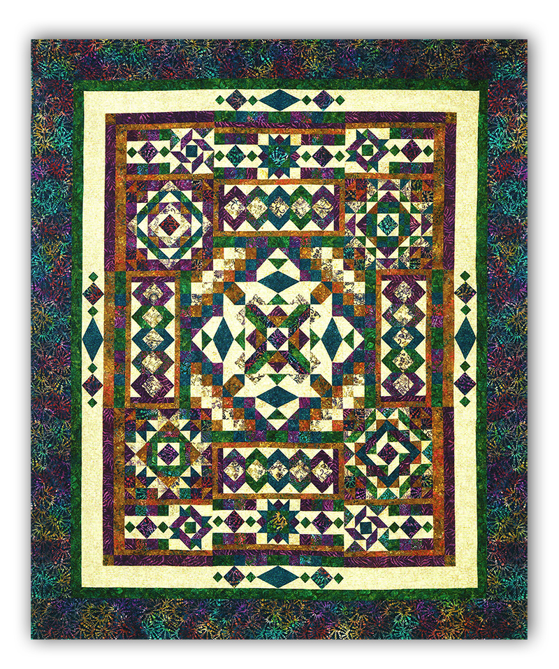 Gemstones Tonga Batiks Queen Sized Quilt Kit By Wing And A