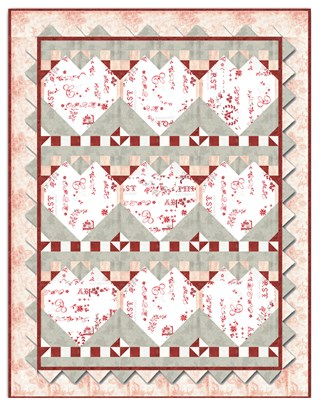 Paper Hearts Love Letters Quilt Kit By Butterfly Dreams By