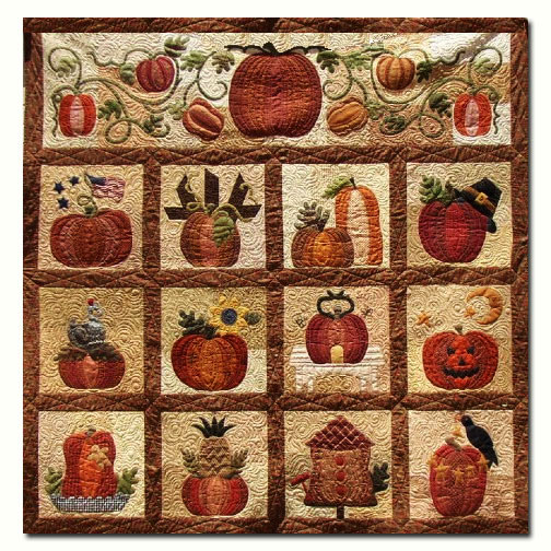 The Great Pumpkin Wool & Matka Silk Quilt Kit BOM - Start Anytime ... : wool quilt patterns - Adamdwight.com