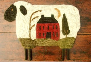 Vintage Find House On Sheep Rug Hooking Pattern