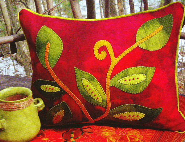 Throw Pillow Kit : Vintage Vines Wool Applique Throw Pillow Kit by WoolyLady