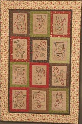 Vintage Snowman Stitchery Quilt Pattern Set By Buttermilk