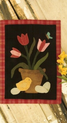 Tulip Basket Wool Applique Pattern By Buttermilk Basin