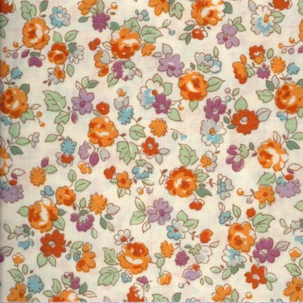 Lecien le petit jardin fat quarter floral toss on cream - Le petit jardin quilt pattern calais ...
