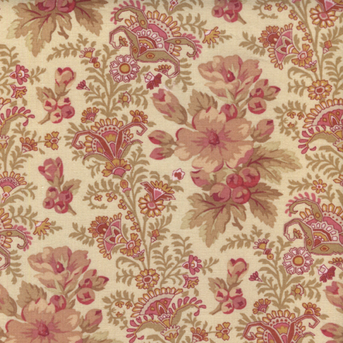 27 Remnant Stone Cottage Romantic Quilting Fabric Cream Floral By