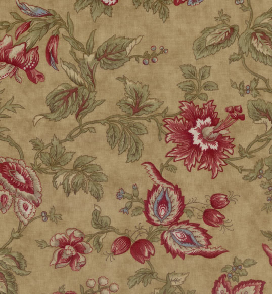 VINTAGE FIND!! Chocolat Quilting Fabric Tan with Red Floral by 3 ... : floral quilting fabric - Adamdwight.com