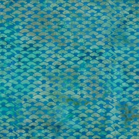 Island batik blue fish scale for Fish scale fabric