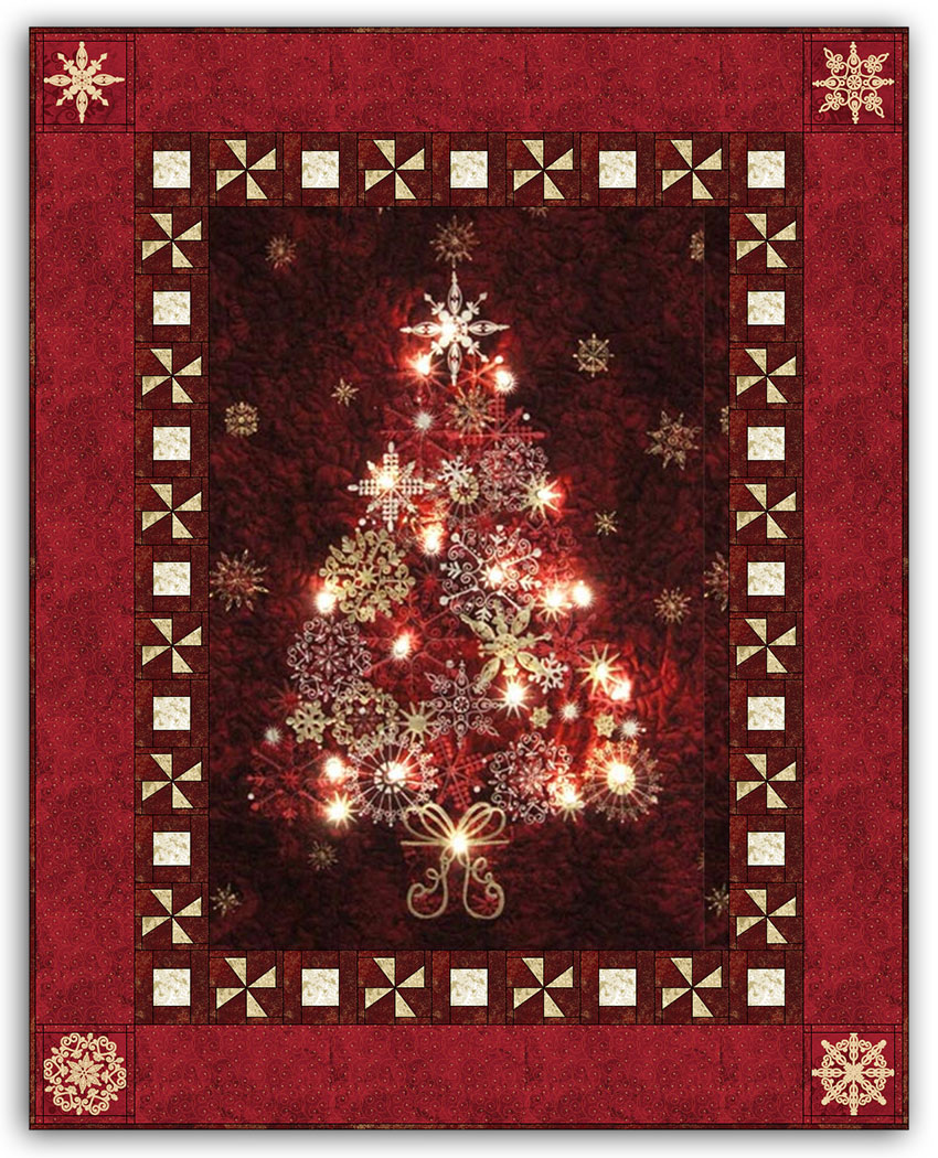 Wall Hung Christmas Lights : Red - Midnight & Bright Lights Starlight Christmas Wallhanging Quilt Kit by Aspen Peak Designs