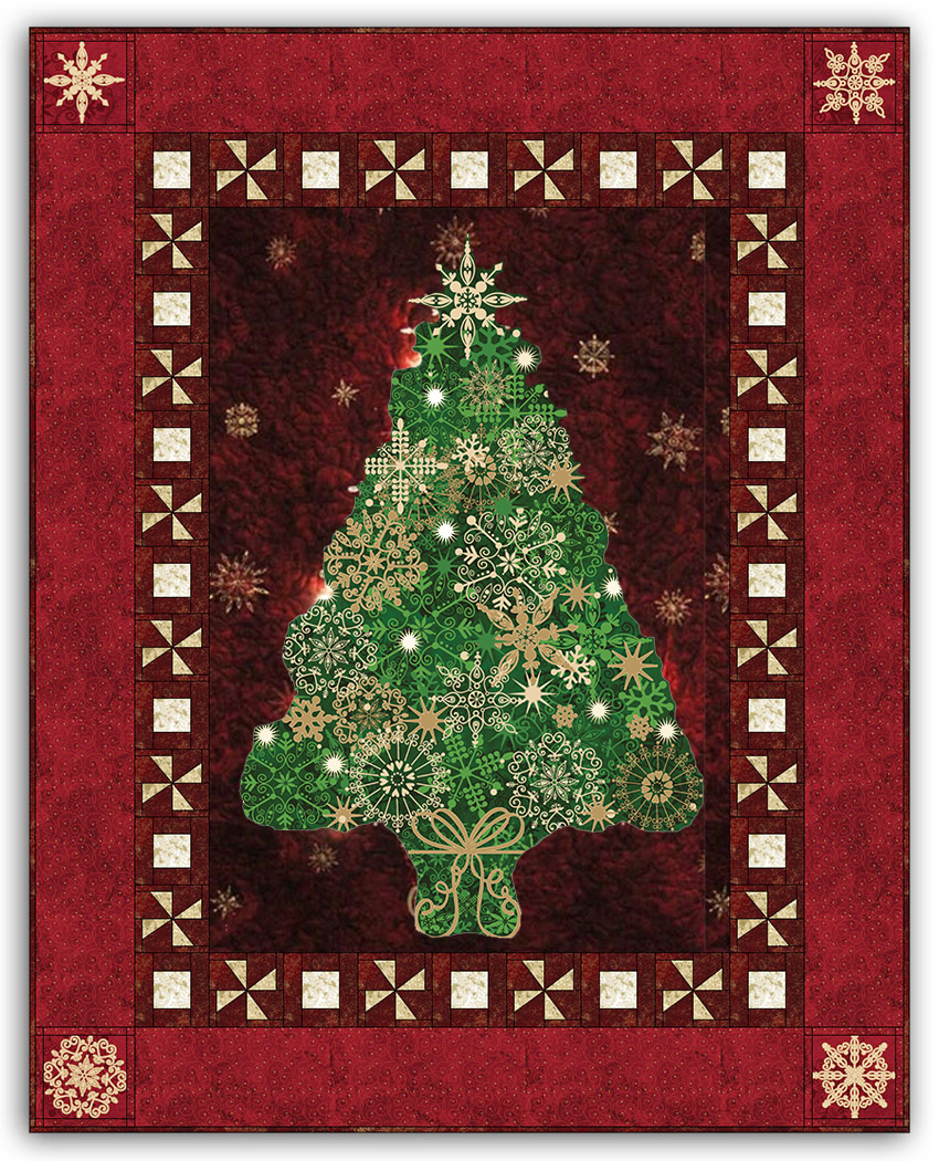 red green christmas tree bright lights starlight christmas wallhanging quilt kit plus optional swarovski hotfix crystal pack review