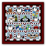 Penguin Cheer Block of the Month or All at Once <br>Available in Batik Applique on Batik<br> OR <br> Wool Applique on Cotton<br>Start Anytime!
