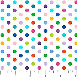 ColorWorks - Rainbow Dot on White- by Deborah Edwards for Northcott