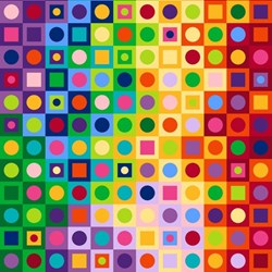 ColorWorks - Rainbow Square Dot-  by Deborah Edwards for Northcott