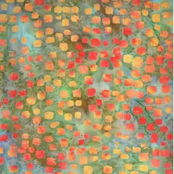 Scattered Squares - Mango  - Batiks  by Michael Miller Fabrics