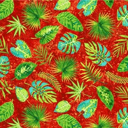 Rainforest Romp- Leaves on Red - by Linda Ludovico for Stonehenge