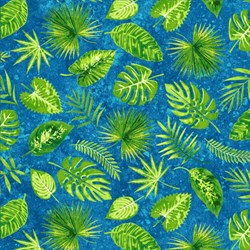 Rainforest Romp- Leaves on Blue - by Linda Ludovico for Stonehenge