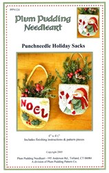 Punchneedle Holiday Sacks Pattern - Plum Pudding Needleart