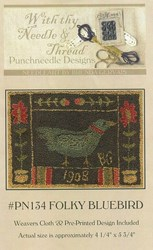 Folky Bluebird Pattern- Punchneedle Designs<br> With thy Needle & Thread