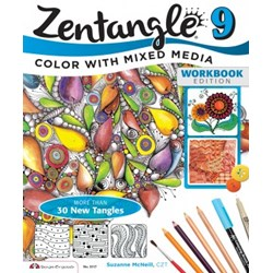 Zentangle 9 - Color with Mixed Media - Workbook Edition, by Suzanne McNeill, CZT