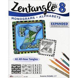 Zentangle 8 - Monograms & Alphabets - Expanded Workbook Edition, by Suzanne McNeill, CZT