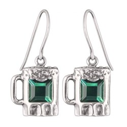 Sterling Silver Green (CZ) Beer Mug Earrings