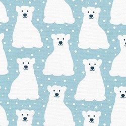 "20"" Remnan - Arctic Flannel Bears on Blue - by Elizabeth Hartman for Robert Kaufman"