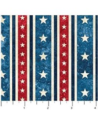 Stars on Blue Mottled - Stars and Stripes by Linda Ludovico for Northcott Fabrics
