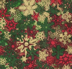 "End of Bolt - 63"" - Stonehenge Holiday - Christmas Metallic Snowflakes 3962m-73"
