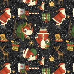 "25"" Remnant Piece - Toss on Black - Santa's Big Night by Debbie Mumm for Wilmington Prints"