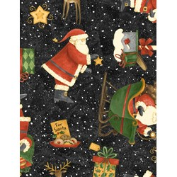 Santa's Big Night - Toss on Black - by Debbie Mumm for Wilmington Prints