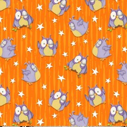 Chills & Thrills (Glow in the Dark) Owls Fabric by Shelly Comiskey for Henry Glass Fabrics
