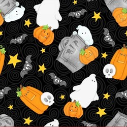 "10"" Remnant - Chills & Thrills (Glow in the Dark) Pumpkins & Ghosts Fabric by Shelly Comiskey for Henry Glass Fabrics"