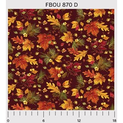 Fall Bounty Metallic Fabric - Leaves & Pinecones on Red - by P&B Textiles