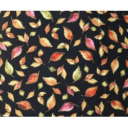Fall Bounty Metallic Fabric - Black Leaves- by P&B Textiles