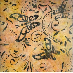 Indo Batiks - Butterflies on Dark Yellow - by A.E.Nathan Co