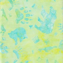 Anthology Batiks - The Plains People of Turtle Island - Bear Print on Seafoam