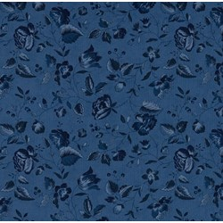 Vintage Find!   Austin Bluebirds by Minick & Simpson for Moda - Blue Tonal Floral