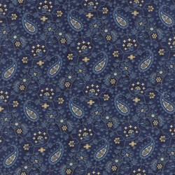 Vintage Find!   Austin Bluebirds by Minick & Simpson for Moda - Blue Paisley Print