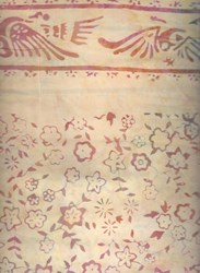 Batik Textiles- Floral Pattern on Cream