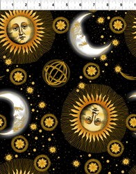 Celestial Metallic Black Medium Sun and Moon