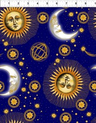 Celestial Metallic Blue Medium Sun and Moon
