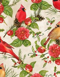Christmas in the Wildwood- Florals and Cardinals on Tan by Nancy Mink