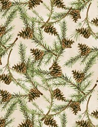Christmas in the Wildwood- Pinecones on Tan  by Nancy Mink