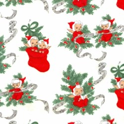 2/3 Yard Piece - Elves on White Flannel - Christmas Kitsch By Chloe's Closet