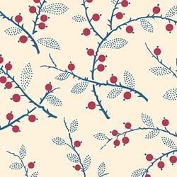 "18"" Remnant 0 Red Berry and Twigs Print - Lady Mary - Downton Abbey Collection by Andover Fabrics"