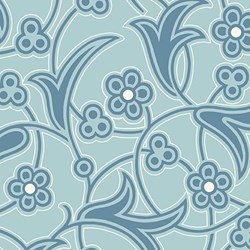 "76"" End of Bolt Piece - Blue Flower Print - Lady Edith - Downton Abbey Collection by Andover Fabrics"