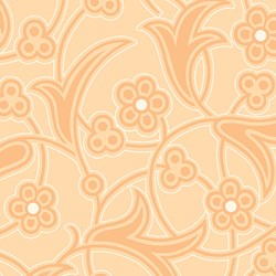 "64"" End of Bolt Piece - Orange Flower Print - Lady Edith - Downton Abbey Collection by Andover Fabrics"