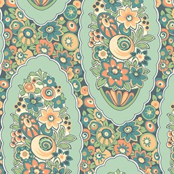 "End of Bolt- 52"" - Orange/Green Floral Print - Lady Edith - Downton Abbey Collection by Andover Fabrics"