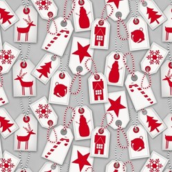 Frosty Friends 2-Ply Flannel Gift Tag Toss on Gray by Henry Glass Fabrics